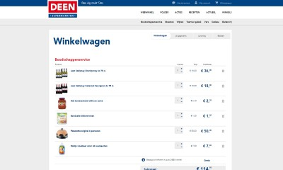 Screenshot Deen website winkelwagen