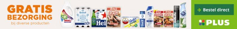 Gratis bezorging van boodschappen bij PLUS met verschillende producten